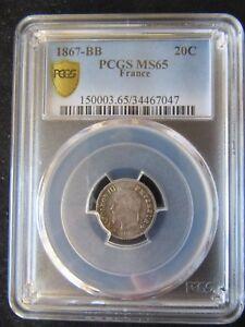 France : 20 centimes Napoleon III Silver 1867 BB ; PCGS : MS 65 ; UNC