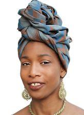 African Head Scarf Blue Brown Speckled Turban Head Wrap Chemo Hair Hijab Nubian