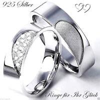 2 Trauringe Eheringe Verlobungsringe Partnerringe 925 Silber + Gravur Herz AO195
