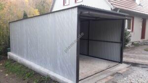 Blechgarage 3x5,5 m in RAL9006 Container Garage KFZ Lager Schuppe | mit Aufbau