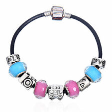 Silver Pink Teal Car Bus Camera LOVE Murano Beads Charm European Lace Bracelet
