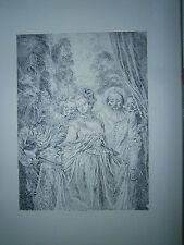 Planche gravure J-A Watteau Les habits sont Italien