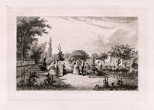 "ORIGINAL Edmond Hedouin 1800s FRAMED Etching ""Sophisticate Gardening"" SIGNED COA"