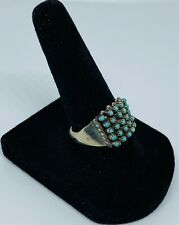 Authentic Zuni Turquoise Cabochon (5 x 5) Snake Eyes Cluster Ring (Size 8)