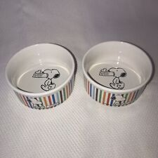 """2 Peanuts Dog Dishes Snoopy Charlie Brown Stoneware 4.5"""""""