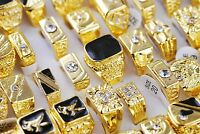 Bulk 5pcs Mixed Designs Gold Plated Crystal Rhinestone Mens Luxurious Rings