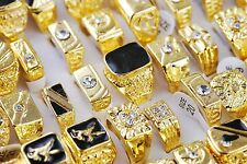 Wholesale Lots 5pcs Mixed Gold Plated Crystal Rhinestone Mens Luxurious Rings
