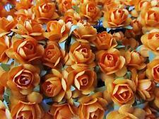 144 Mulberry Paper Rose Flower/wire stem/decoration/craft/bouquet H420-Orange