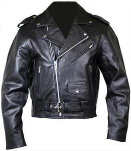 Mens Black Leather Motorcycle Jacket Brando Style Perfecto Classic Fashion Style