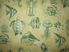 JELLY FISH SEA SHELL TURTLES SAND PIPER FISH LOBSTER CRAB COTTON FABRIC BTHY
