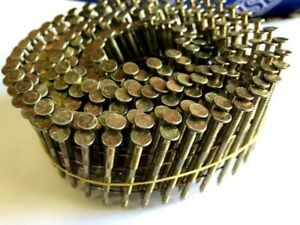 2.5 X 50mm Flat Wound Wire Coil Nails. Galvanised, Ring. 15 Degree - 1 coil