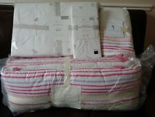 4P Pottery Barn Kids Rainbow Piper Nursery Quilt Sheet Set Pink Flower Bunny Cat