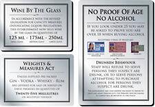 Bar Licensing Sign Set - Brushed Silver, Pack of 3 - Pub/Bar/Restaurant