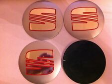 SEAT SILVER/RED/CHROME ALLOY WHEELS CENTRE LOGO STICKER SET (4) Face DIAM 90 mm