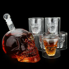 Whiskey Decanter Set 700ml Liquor Decanter Skull Etched Decanter Wine Glass
