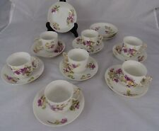 Antique French Jean Pouyat Limoges France 7 Coffee Cups &  Saucers - Violets