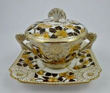 Antique CF Haviland Limoges Covered Soup Cup & Saucer Egyptian Style
