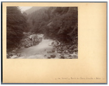 France, Un torrent, Route des Eaux-Chaudes à Gabas  Vintage citrate print. Tir