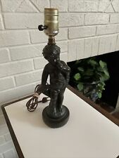 Vintage French Molded Smelted Putti/Cherub   Sculpture Table Lamp
