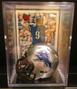 DETROIT LIONS NFL Players Mini Helmet Shadowbox w/ card