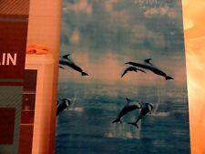 Fun Peva vinyl Blue Shower Curtain Jumping Dolphins~Puffy Clouds Ocean tranquil