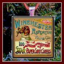 Vintage Winchester Repeating Arms Shell Box Photo Ornament Pendant Gift