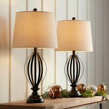 Farmhouse Table Lamps Set of 2 Bronze Open Cage Taupe...