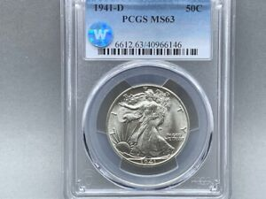 1941-D PCGS MS 63 Walking Liberty Half Silver Dollar! *Sight White Certified!*