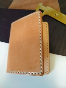 Full Grain Italian Leather Veg-Tan Bifold Men's Wallet Hand-Sewn Saddlestitch
