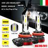 2X 55W H8 H9 H11 20000LM Auto LED Fari Bulbi Lampadine Kit Xenon Bianco 6000K