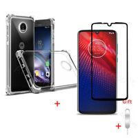 Heavy-Duty Tempered Glass Screen Protector TPU Case SIM Tool f Motorola Moto Z4