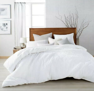 DKNY Donna Karan Pure Crinkle Cotton KING Duvet Cover White NEW