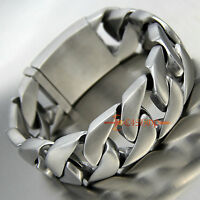 Heavy Silver Brushed Stainless Steel Cuban Curb Link Chain Men's Bracelet Bangle