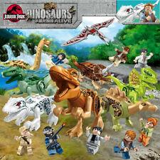 8pcs Dinos Jurassic World Dinosaur+8pcs Mini Figures Park Raptor block fit lego