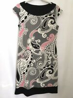 Liz Claiborne Paisley Dress Size 10P Sleeveless  White Pink Black Party EUC