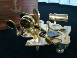 "3"" Brass Sextant w/ Wooden Box - Nautical Sextent Astrolabe"
