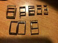 LOT de 6  boucles dorées pour bracelets de montres,6 modèles,tailles différentes