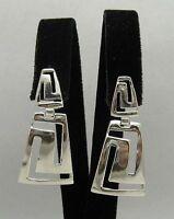 Dangling Sterling Silver Earrings Hallmarked Solid 925 Meanders Handmade Empress