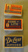 Original Antique Lot of 3 Canada Match Co. Limited Full Miniature Match Boxes