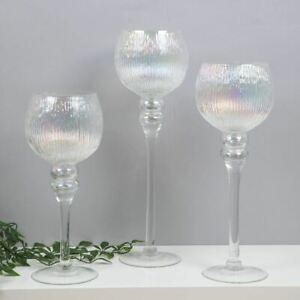 HESTIA Set of 3 Pearlised Glass Goblet Style Candle Holders