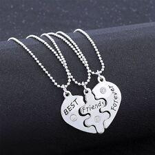 3Pcs/Set  Mejores Amigos Para Siempre Amistad Corazón Roto Collar Colgante