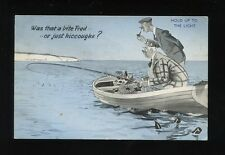 Fishing Comic Rowing Boat Novelty HOLD TO LIGHT used 1958 PPC
