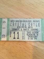 Donny And Marie Osmond Vintage Ticket Stub 1985 W/ Crystal Gayle Wilm Nc