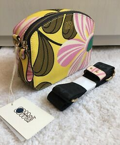 ORLA KIELY LEMON PINK FLORAL WEDGE ZIP TOP CROSSBODY SHOULDER BAG BNWT £220.00