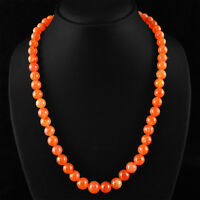 320.00 CTS NATURAL AMAZING RICH ORANGE CARNELIAN ROUND BEADS NECKLACE STRAND