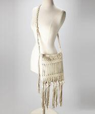 NEW CELEBRITY FAV Linea Pelle Sand Fringe Daisy Crossbody Leather Bag Purse