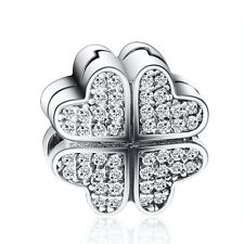 Silver Clip Bead Clover Shape Pave Genuine CZ Fit 925 Sterling Charms Bracelets