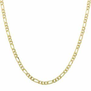 Chaîne Figaro Bracelet 4mm 750er or Jaune 18 Carat en Collier Femmes Hommes