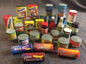 Childrens Plastic Pretend Food Lot Biscuits Drinks Cans Etc Play Shops (B)