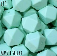 10 Mint 14mm Hexagon Geo Silicone BPA Free Beads Necklace Baby Safe Teething DIY